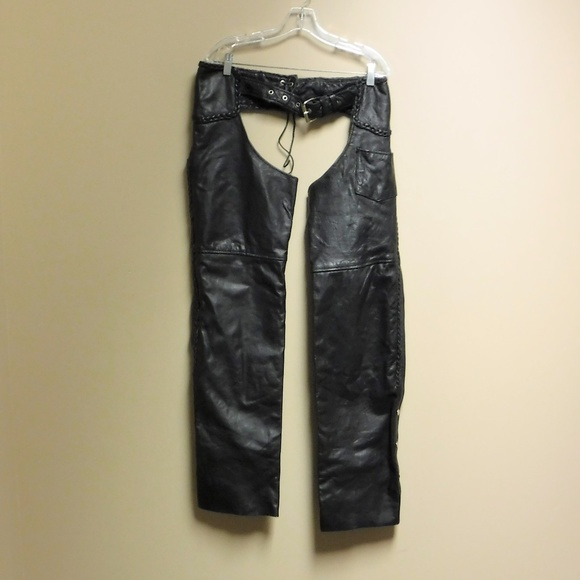 Interstate Leather Other - Interstate Leather Black Leather Chaps Size Large